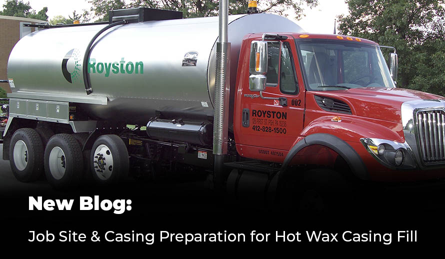A Royston Truck delivering a hot applied casing filler for eliminating electrolytic shorts occurring in annular spaces between carrier pipes and casings