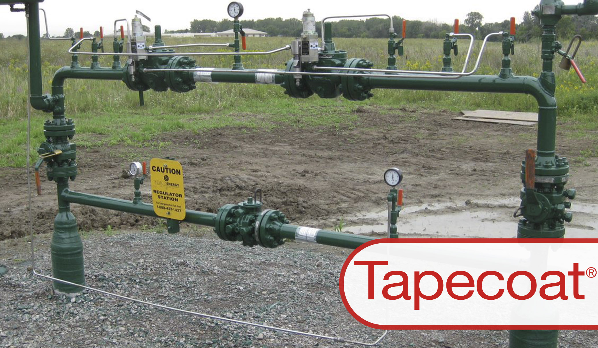 Gas Risers protected with tape