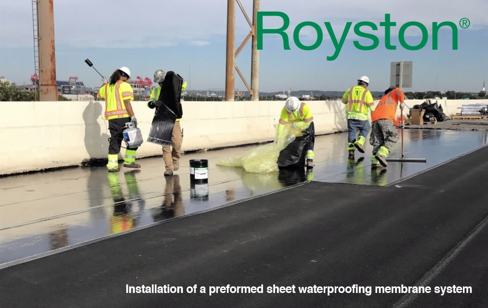 Installation of a preformed sheet waterproofing membrane