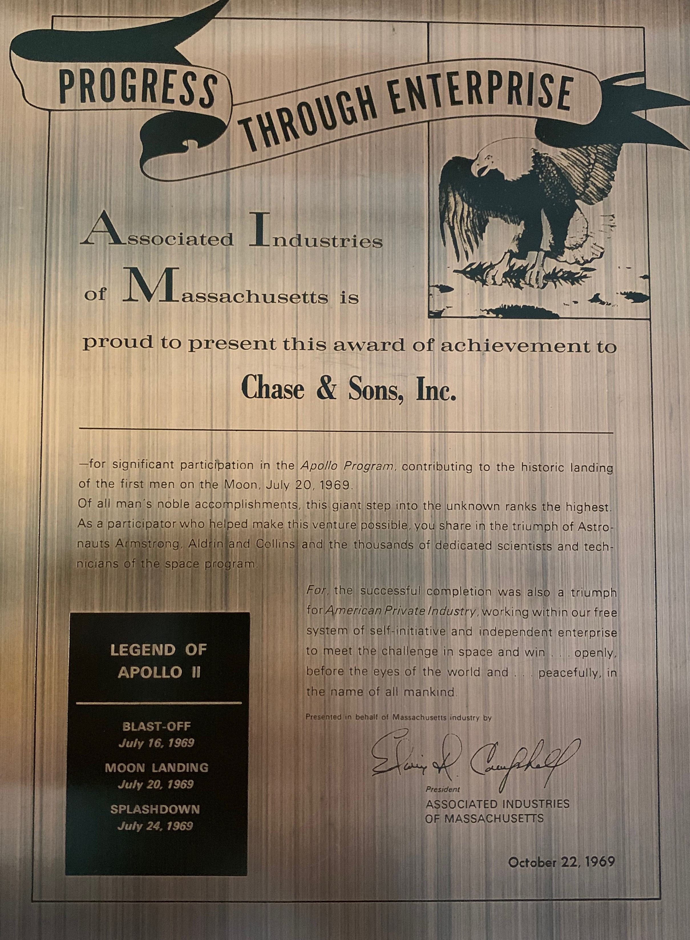 Legend of Apollo || plaque and award of achievement to Chase & Sons Inc