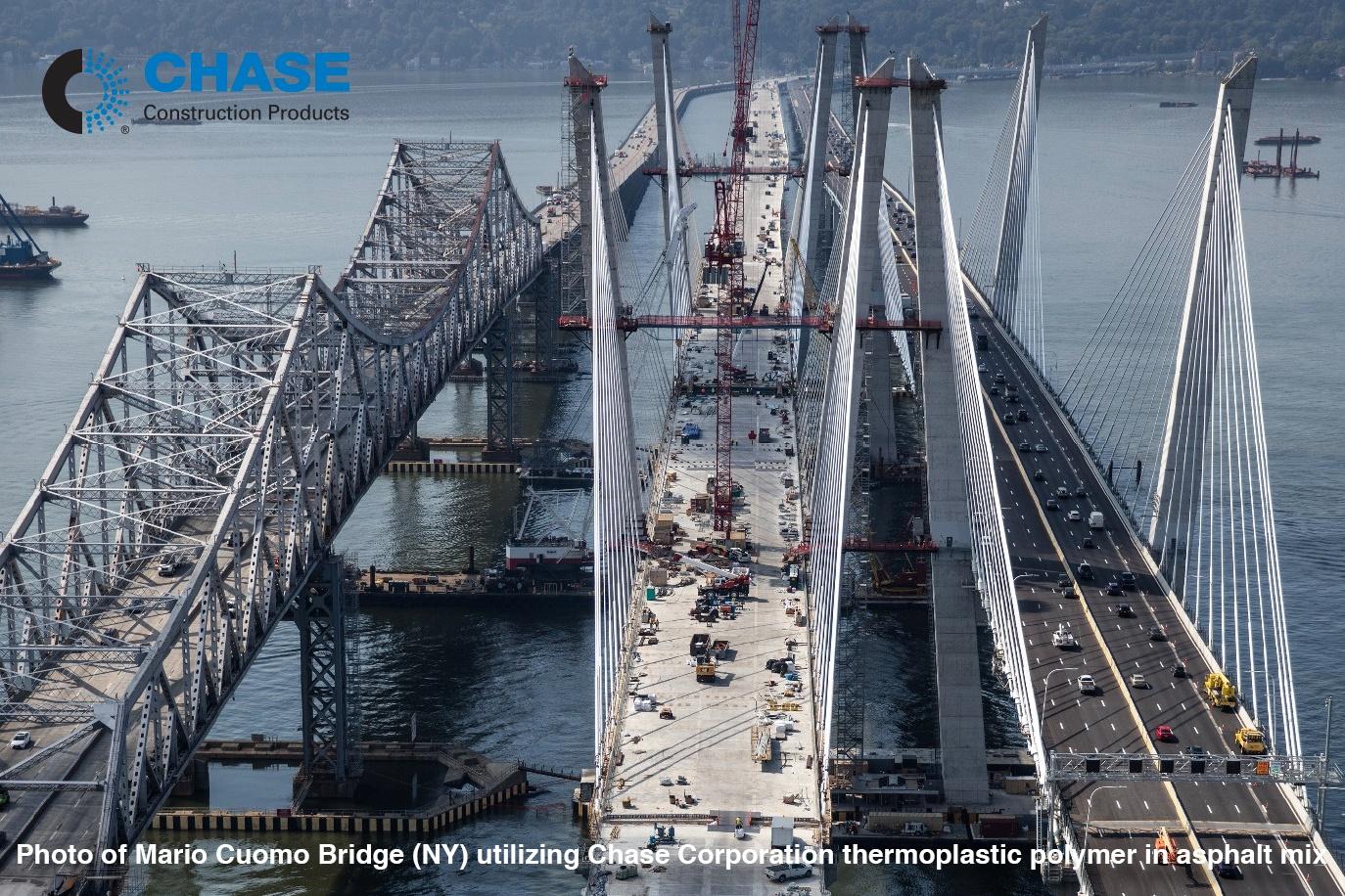 Photo of Mario Cuomo Bridge (NY) utilizing Chase Corporation thermoplastic polymer in asphalt mix