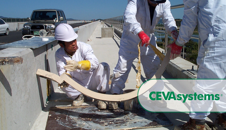 Road crew installing expansion joints on a bridge deck