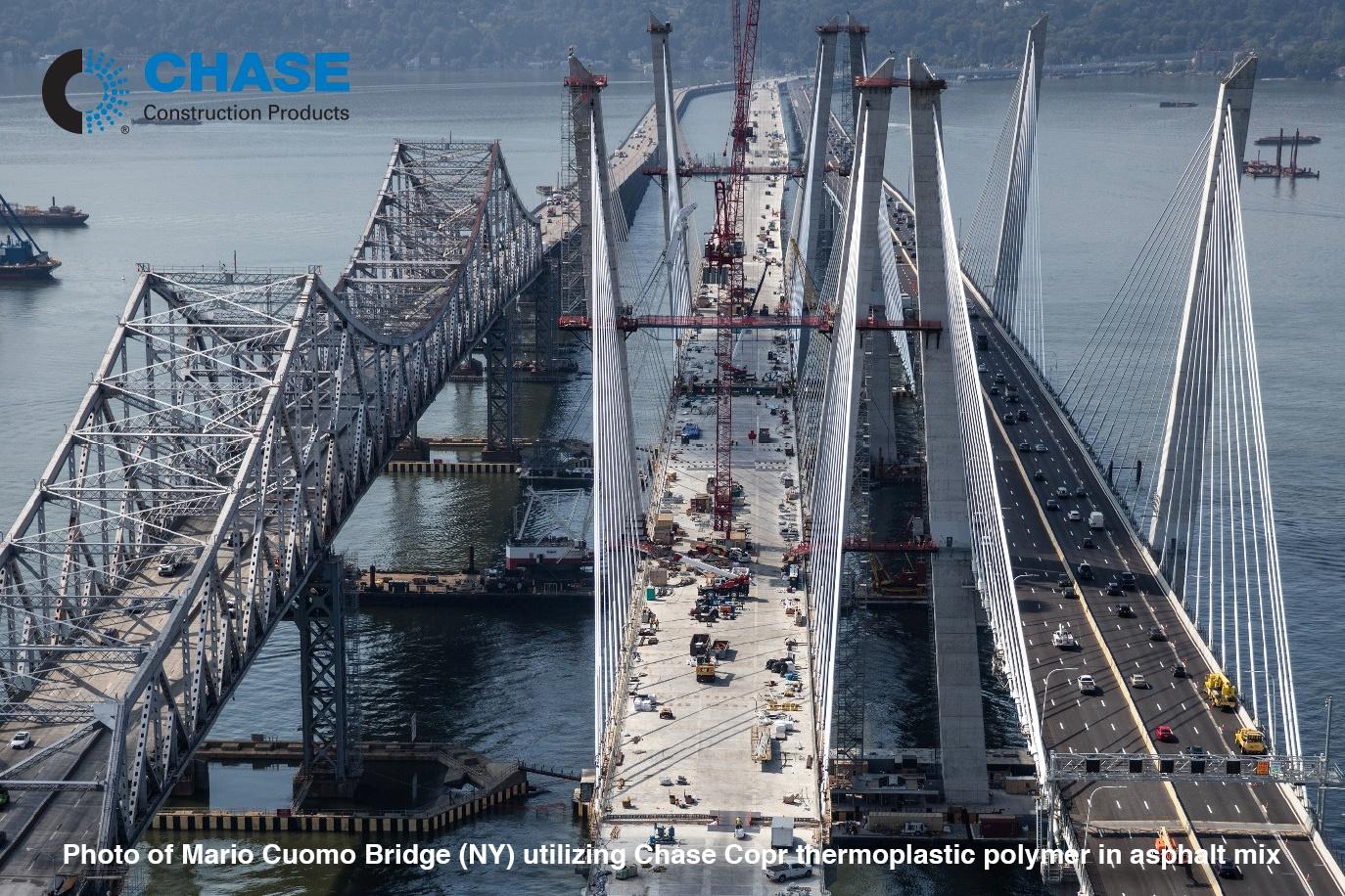 Photo of Mario Cuomo Bridge (NY) utilizing Chase Corporation thermoplastic polymer in asphalt mix.jpg