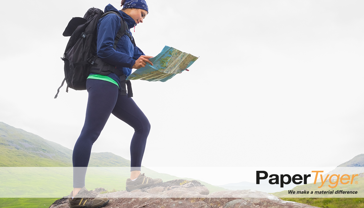 Woman Hiking with Durable Printing Paper Map